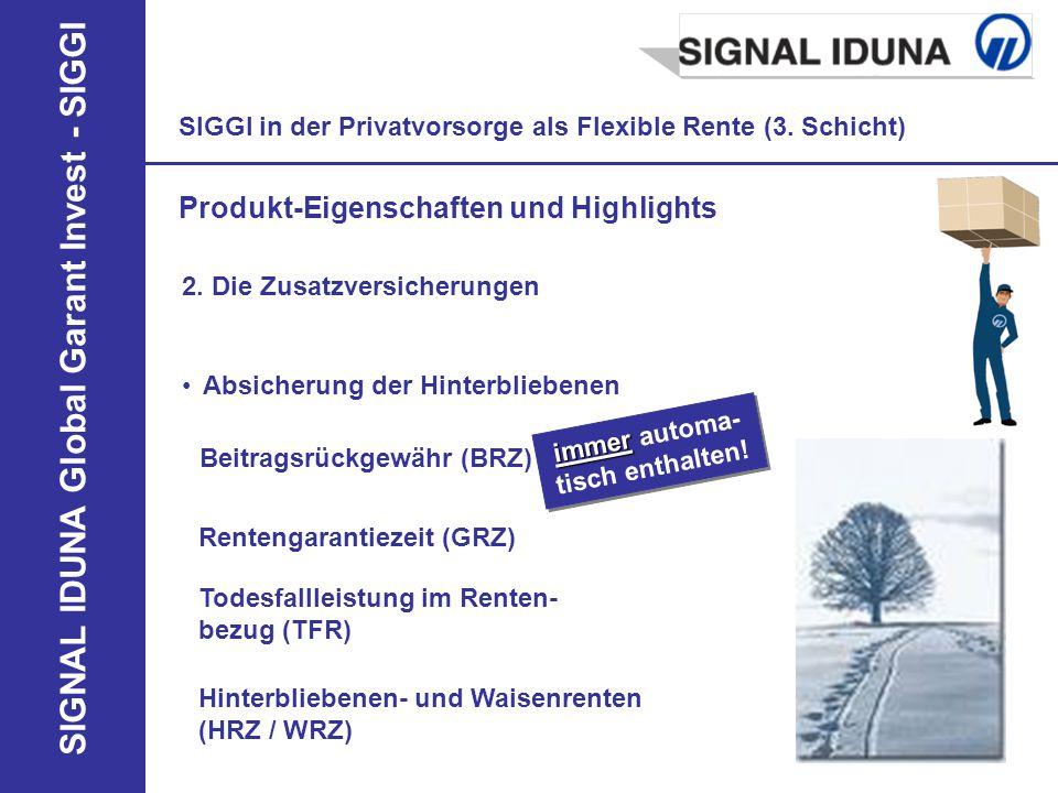 SIGNAL IDUNA Global Garant Invest - SIGGI SIGGI in der Privatvorsorge als Flexible Rente (3. Schicht) Produkt-Eigenschaften und Highlights 2. Die Zusa