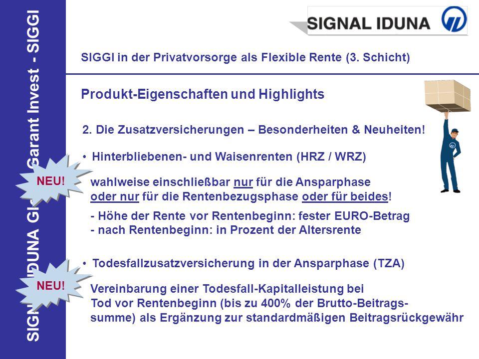 SIGNAL IDUNA Global Garant Invest - SIGGI NEU! SIGGI in der Privatvorsorge als Flexible Rente (3. Schicht) Produkt-Eigenschaften und Highlights 2. Die