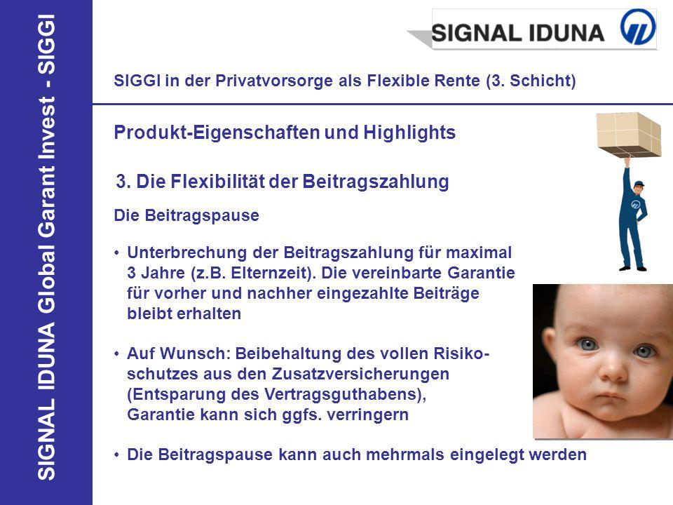 SIGNAL IDUNA Global Garant Invest - SIGGI SIGGI in der Privatvorsorge als Flexible Rente (3. Schicht) Produkt-Eigenschaften und Highlights 3. Die Flex