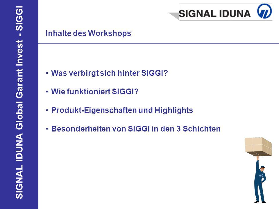 SIGNAL IDUNA Global Garant Invest - SIGGI Inhalte des Workshops Was verbirgt sich hinter SIGGI? Wie funktioniert SIGGI? Produkt-Eigenschaften und High