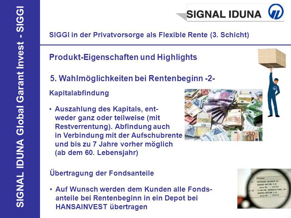 SIGNAL IDUNA Global Garant Invest - SIGGI SIGGI in der Privatvorsorge als Flexible Rente (3. Schicht) Produkt-Eigenschaften und Highlights 5. Wahlmögl