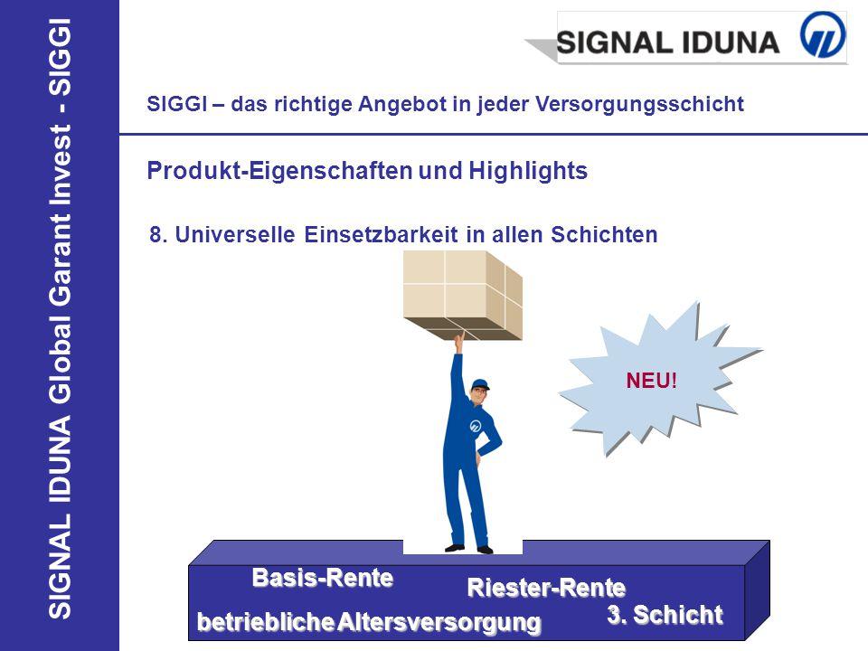 SIGNAL IDUNA Global Garant Invest - SIGGI SIGGI – das richtige Angebot in jeder Versorgungsschicht Produkt-Eigenschaften und Highlights NEU! 8. Univer