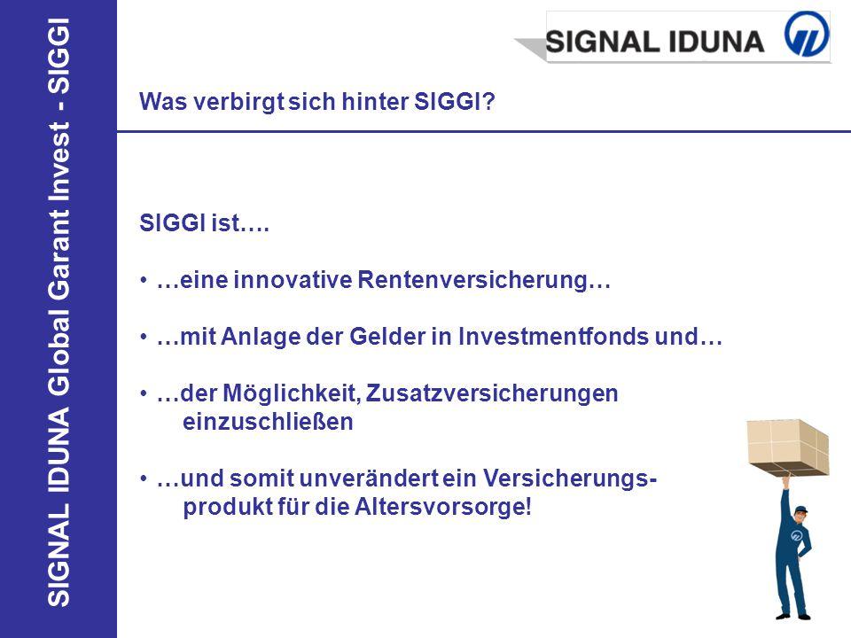 SIGNAL IDUNA Global Garant Invest - SIGGI Was verbirgt sich hinter SIGGI? SIGGI ist…. …eine innovative Rentenversicherung… …mit Anlage der Gelder in I