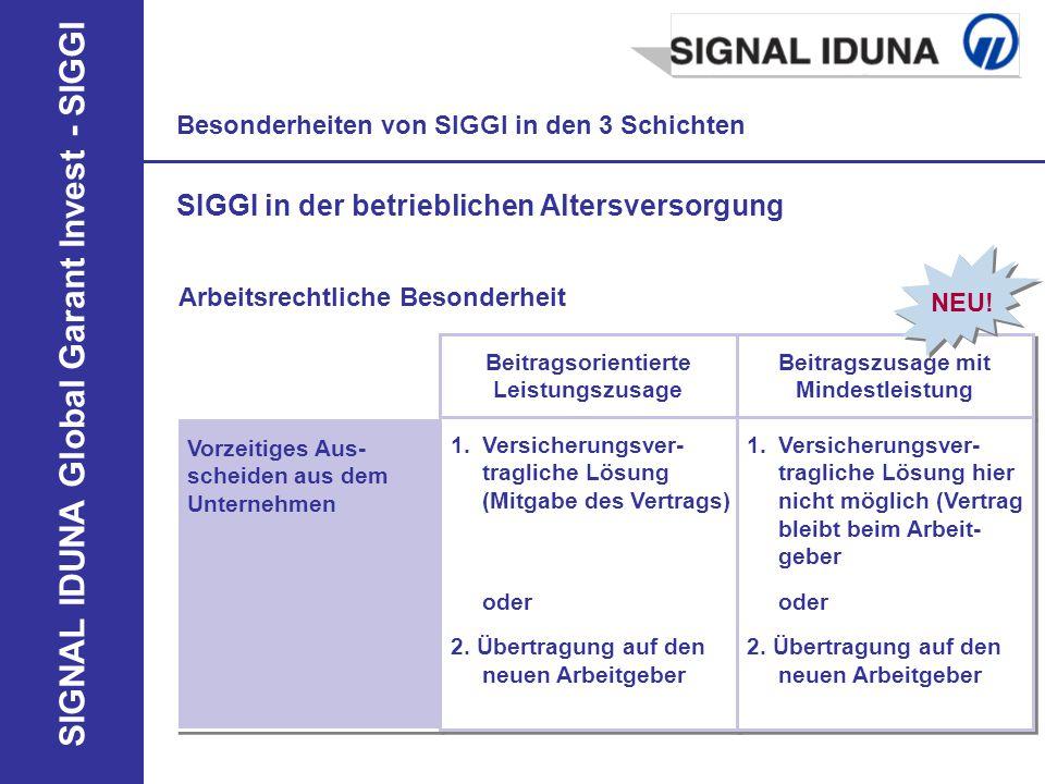 SIGNAL IDUNA Global Garant Invest - SIGGI Besonderheiten von SIGGI in den 3 Schichten SIGGI in der betrieblichen Altersversorgung Arbeitsrechtliche Be