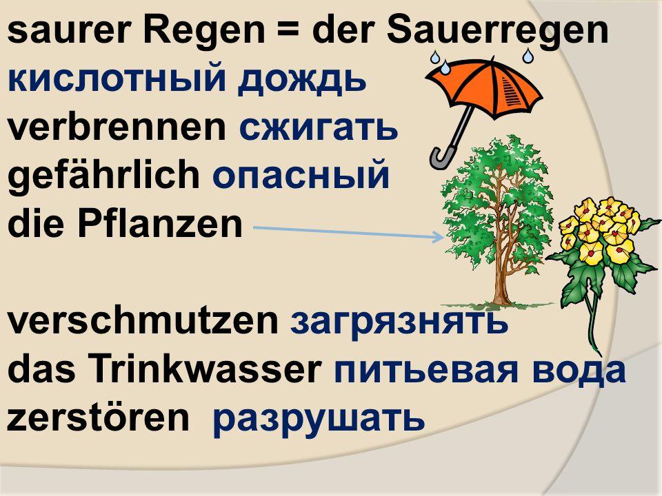 saurer Regen = der Sauerregen кислотный дождь verbrennen сжигать gefährlich опасный die Pflanzen verschmutzen загрязнять das Trinkwasser питьевая вода