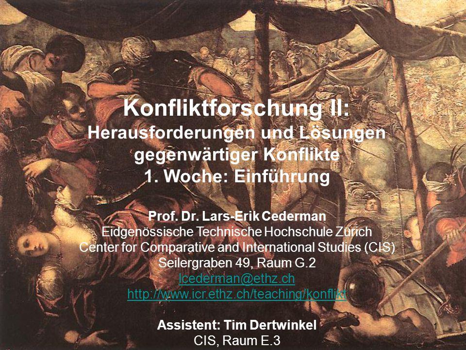1 Konfliktforschung II: Herausforderungen und Lösungen gegenwärtiger Konflikte 1. Woche: Einführung Prof. Dr. Lars-Erik Cederman Eidgenössische Techni