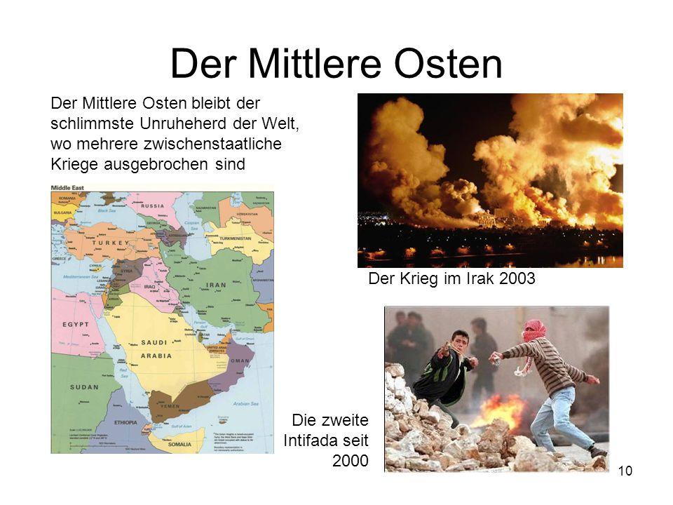 10 Der Mittlere Osten Der Mittlere Osten bleibt der schlimmste Unruheherd der Welt, wo mehrere zwischenstaatliche Kriege ausgebrochen sind Der Krieg i