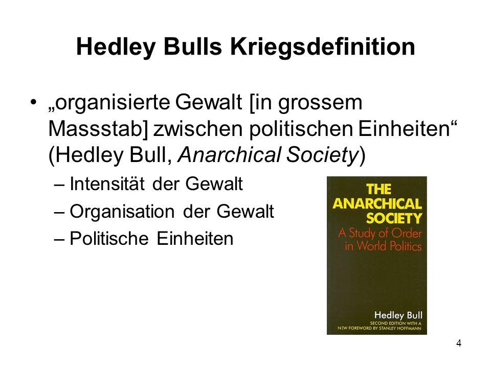 4 Hedley Bulls Kriegsdefinition organisierte Gewalt [in grossem Massstab] zwischen politischen Einheiten (Hedley Bull, Anarchical Society) –Intensität