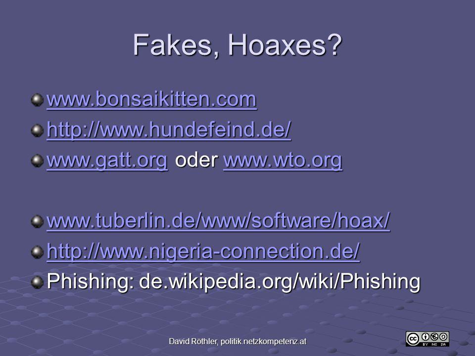 David Röthler, politik.netzkompetenz.at Fakes, Hoaxes.