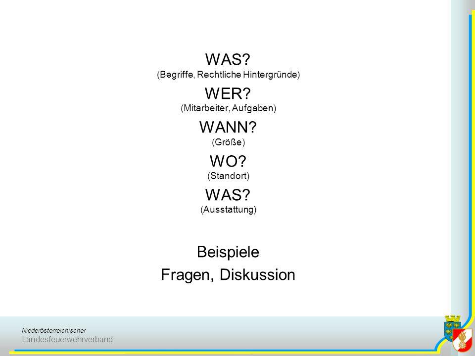 Niederösterreichischer Landesfeuerwehrverband WAS? (Begriffe, Rechtliche Hintergründe) WER? (Mitarbeiter, Aufgaben) WANN? (Größe) WO? (Standort) WAS?