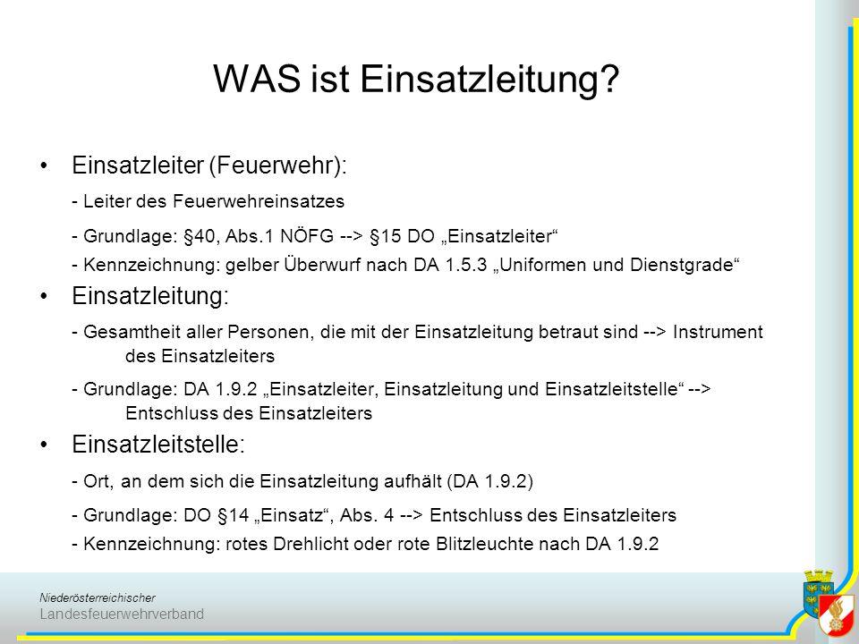 Niederösterreichischer Landesfeuerwehrverband WAS ist Einsatzleitung? Einsatzleiter (Feuerwehr): - Leiter des Feuerwehreinsatzes - Grundlage: §40, Abs