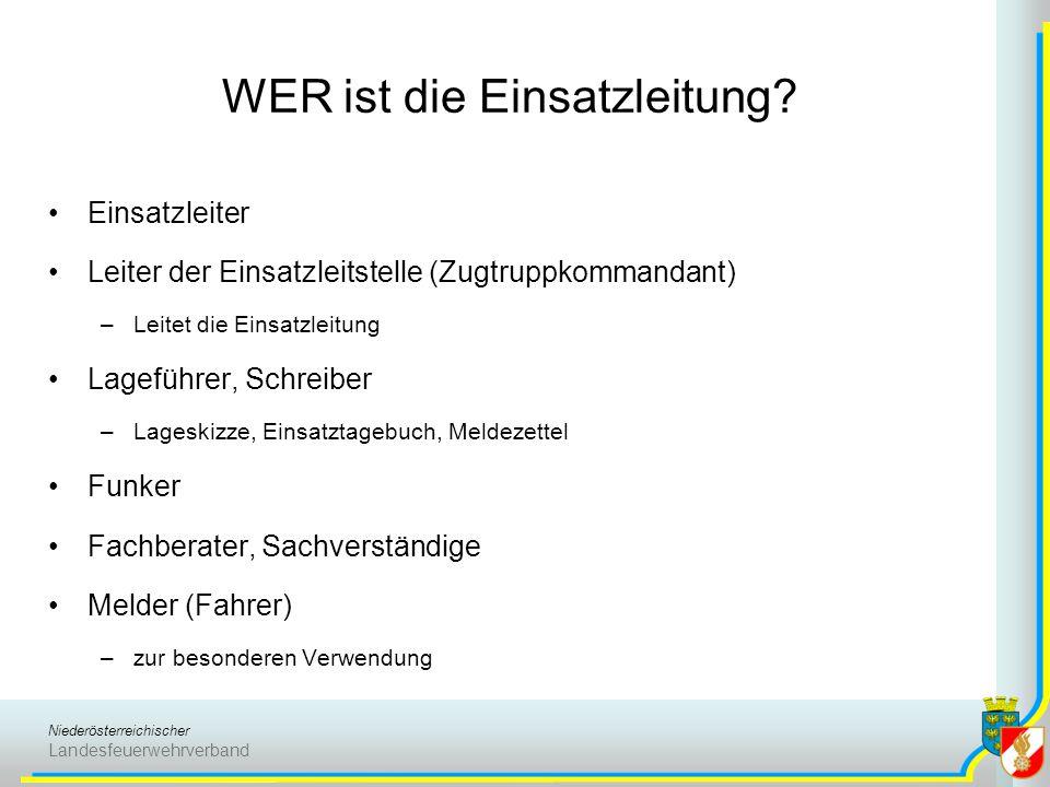 Niederösterreichischer Landesfeuerwehrverband WER ist die Einsatzleitung? Einsatzleiter Leiter der Einsatzleitstelle (Zugtruppkommandant) –Leitet die