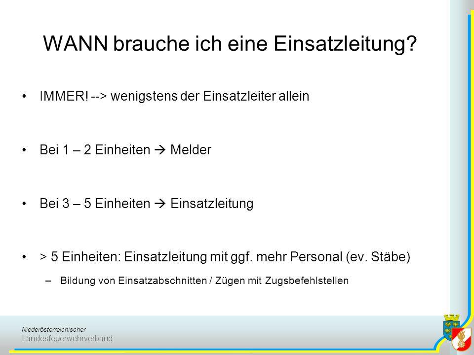 Niederösterreichischer Landesfeuerwehrverband WANN brauche ich eine Einsatzleitung? IMMER! --> wenigstens der Einsatzleiter allein Bei 1 – 2 Einheiten