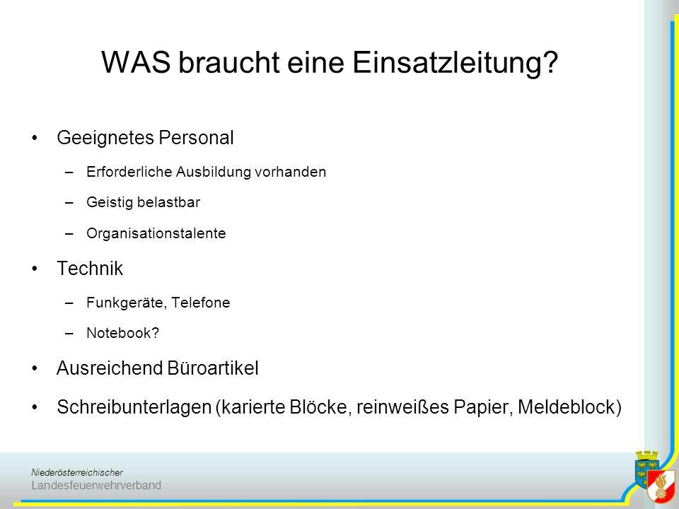 Niederösterreichischer Landesfeuerwehrverband WAS braucht eine Einsatzleitung? Geeignetes Personal –Erforderliche Ausbildung vorhanden –Geistig belast