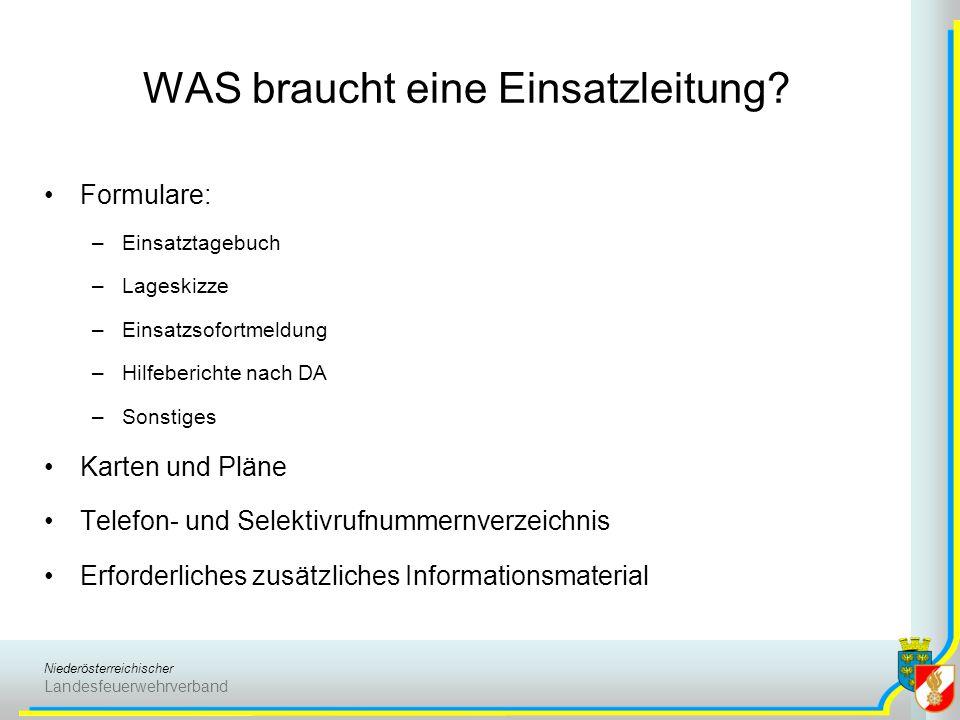 Niederösterreichischer Landesfeuerwehrverband WAS braucht eine Einsatzleitung? Formulare: –Einsatztagebuch –Lageskizze –Einsatzsofortmeldung –Hilfeber
