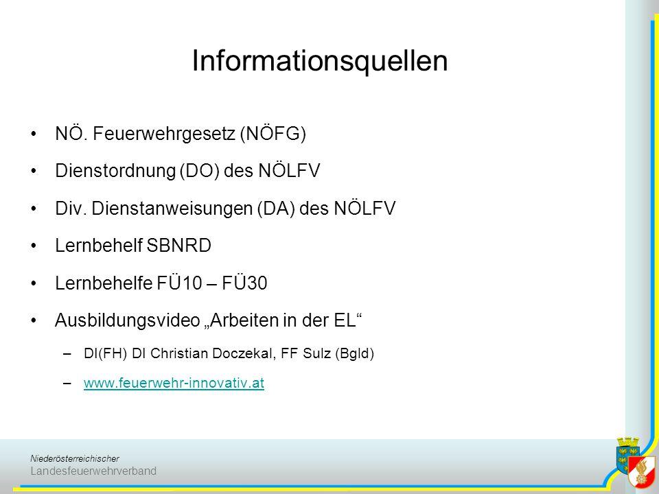 Niederösterreichischer Landesfeuerwehrverband Informationsquellen NÖ. Feuerwehrgesetz (NÖFG) Dienstordnung (DO) des NÖLFV Div. Dienstanweisungen (DA)