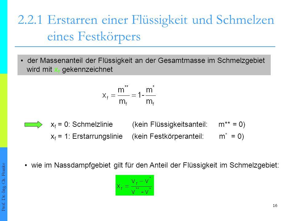 17 2.2.1 Erstarren einer Flüssigkeit und Schmelzen eines Festkörpers Prof.