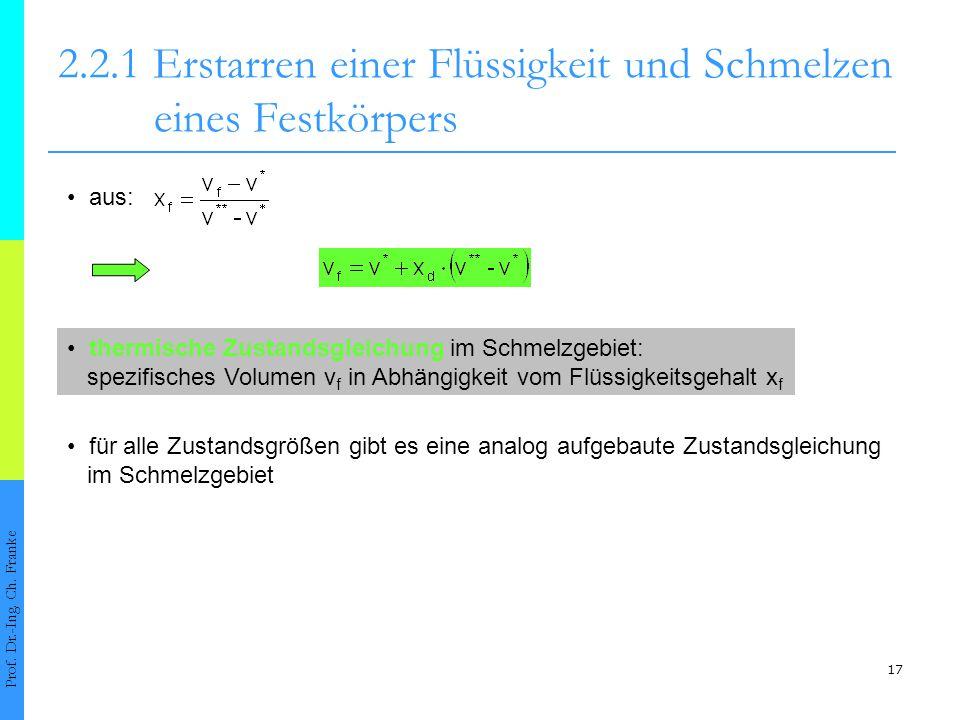 18 2.2.1 Erstarren einer Flüssigkeit und Schmelzen eines Festkörpers Prof.
