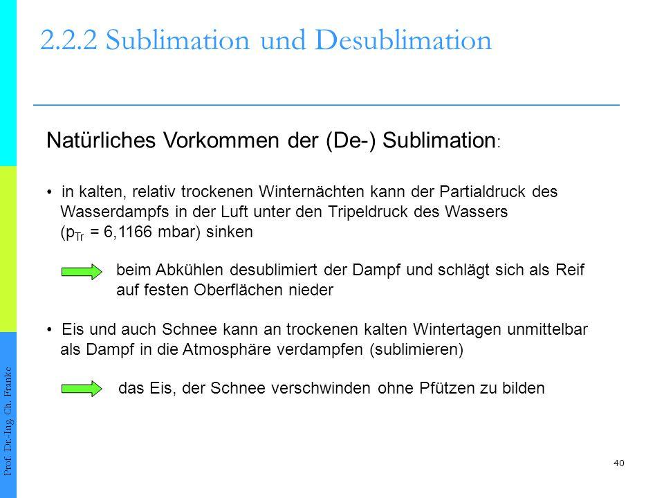 41 2.2.2 Sublimation und Desublimation Prof.Dr.-Ing.