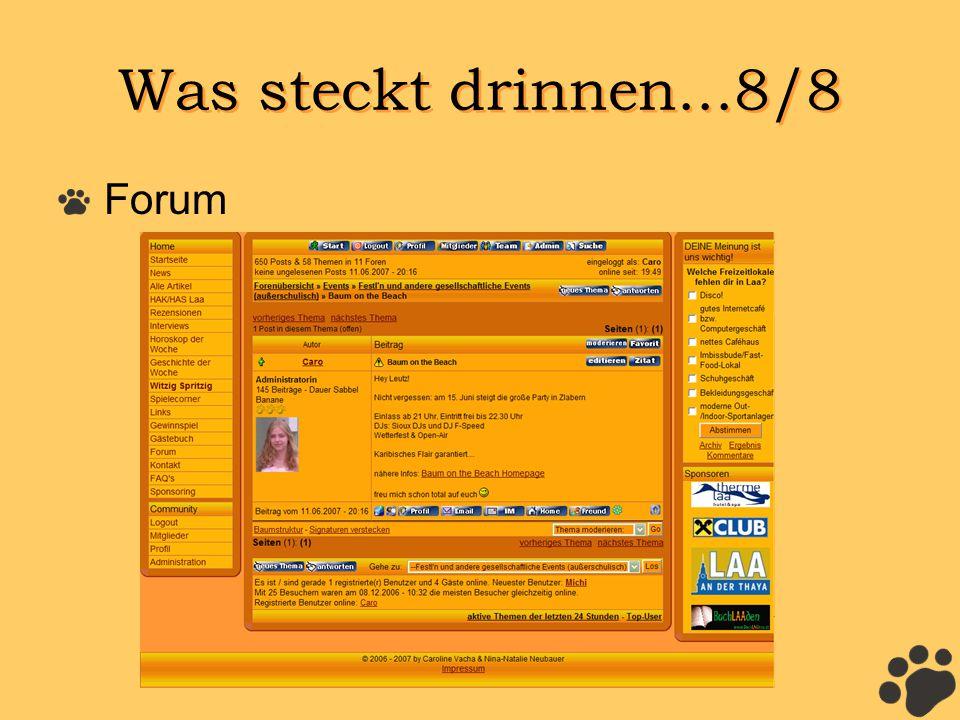 Was steckt drinnen...8/8 Forum
