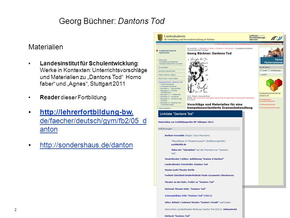 2 Georg Büchner: Dantons Tod Materialien Landesinstitut für Schulentwicklung: Werke in Kontexten: Unterrichtsvorschläge und Materialien zu Dantons Tod