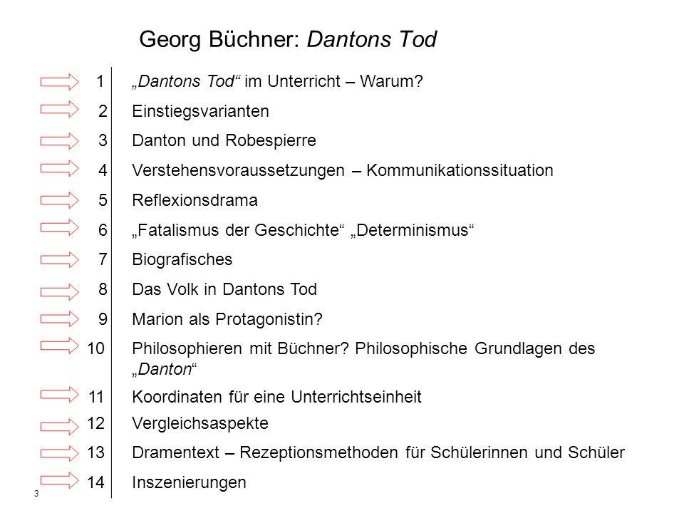 3 Georg Büchner: Dantons Tod 1Dantons Tod im Unterricht – Warum? 2Einstiegsvarianten 3Danton und Robespierre 4Verstehensvoraussetzungen – Kommunikatio