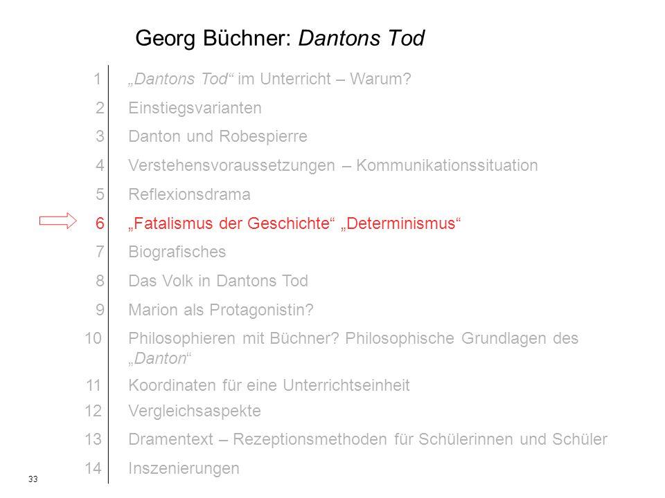 33 Georg Büchner: Dantons Tod 1Dantons Tod im Unterricht – Warum? 2Einstiegsvarianten 3Danton und Robespierre 4Verstehensvoraussetzungen – Kommunikati