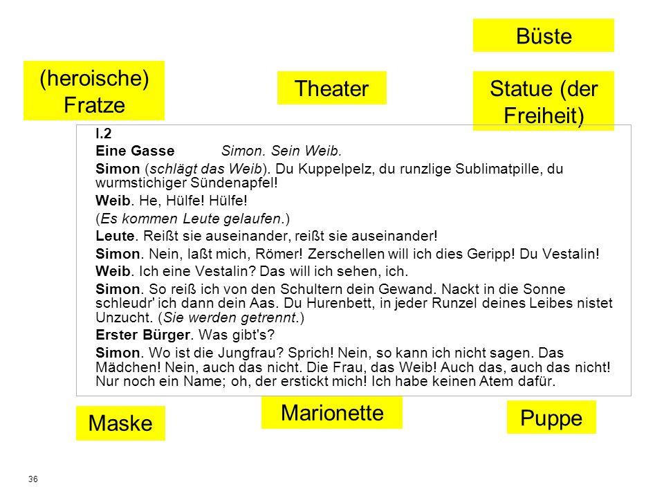 36 Puppe Maske Theater Marionette (heroische) Fratze Büste Statue (der Freiheit) I.2 Eine Gasse Simon. Sein Weib. Simon (schlägt das Weib). Du Kuppelp