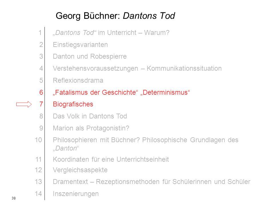 38 Georg Büchner: Dantons Tod 1Dantons Tod im Unterricht – Warum? 2Einstiegsvarianten 3Danton und Robespierre 4Verstehensvoraussetzungen – Kommunikati