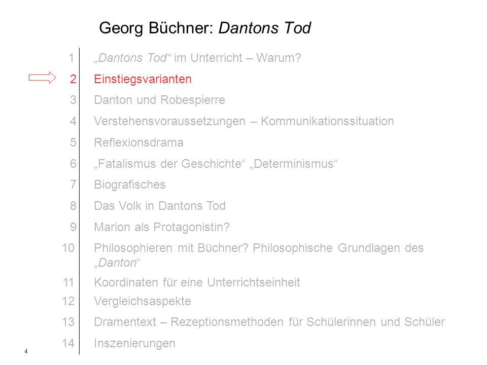 4 Georg Büchner: Dantons Tod 1Dantons Tod im Unterricht – Warum? 2Einstiegsvarianten 3Danton und Robespierre 4Verstehensvoraussetzungen – Kommunikatio