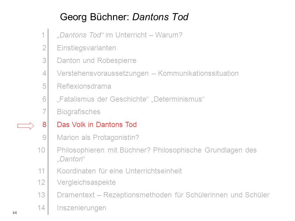 44 Georg Büchner: Dantons Tod 1Dantons Tod im Unterricht – Warum? 2Einstiegsvarianten 3Danton und Robespierre 4Verstehensvoraussetzungen – Kommunikati