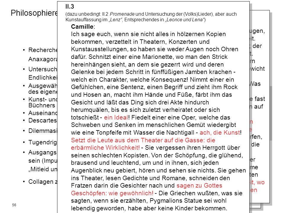 56 Philosophieren mit Büchner? – Philosophische Grundlagen des Dantons Recherche nach zitierten Denkern und Philosophen (Epikur, Lukretia, Anaxagoras,