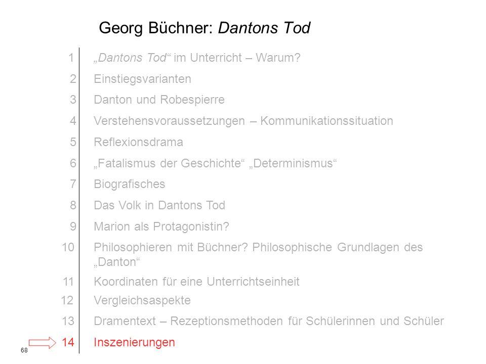68 Georg Büchner: Dantons Tod 1Dantons Tod im Unterricht – Warum? 2Einstiegsvarianten 3Danton und Robespierre 4Verstehensvoraussetzungen – Kommunikati