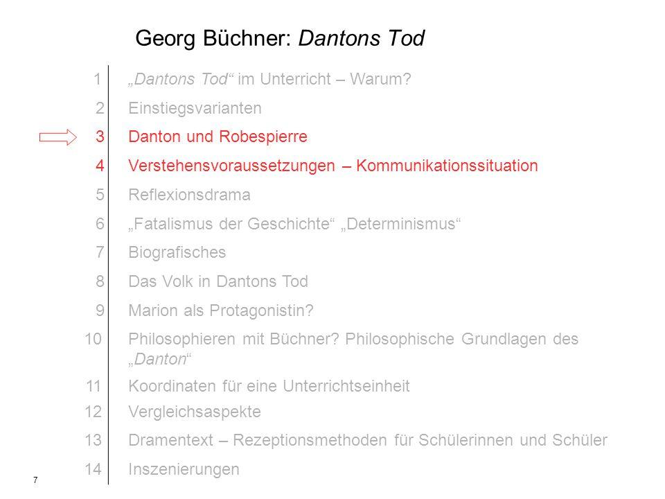 7 Georg Büchner: Dantons Tod 1Dantons Tod im Unterricht – Warum? 2Einstiegsvarianten 3Danton und Robespierre 4Verstehensvoraussetzungen – Kommunikatio