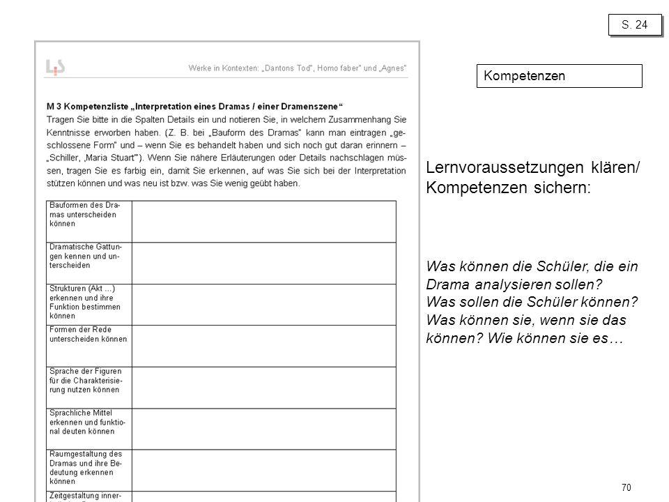70 S. 24 Lernvoraussetzungen klären/ Kompetenzen sichern: Was können die Schüler, die ein Drama analysieren sollen? Was sollen die Schüler können? Was