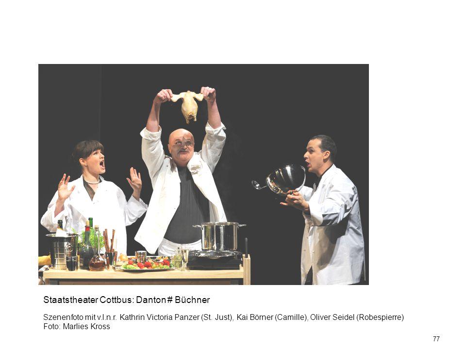 77 Staatstheater Cottbus: Danton # Büchner Szenenfoto mit v.l.n.r. Kathrin Victoria Panzer (St. Just), Kai Börner (Camille), Oliver Seidel (Robespierr