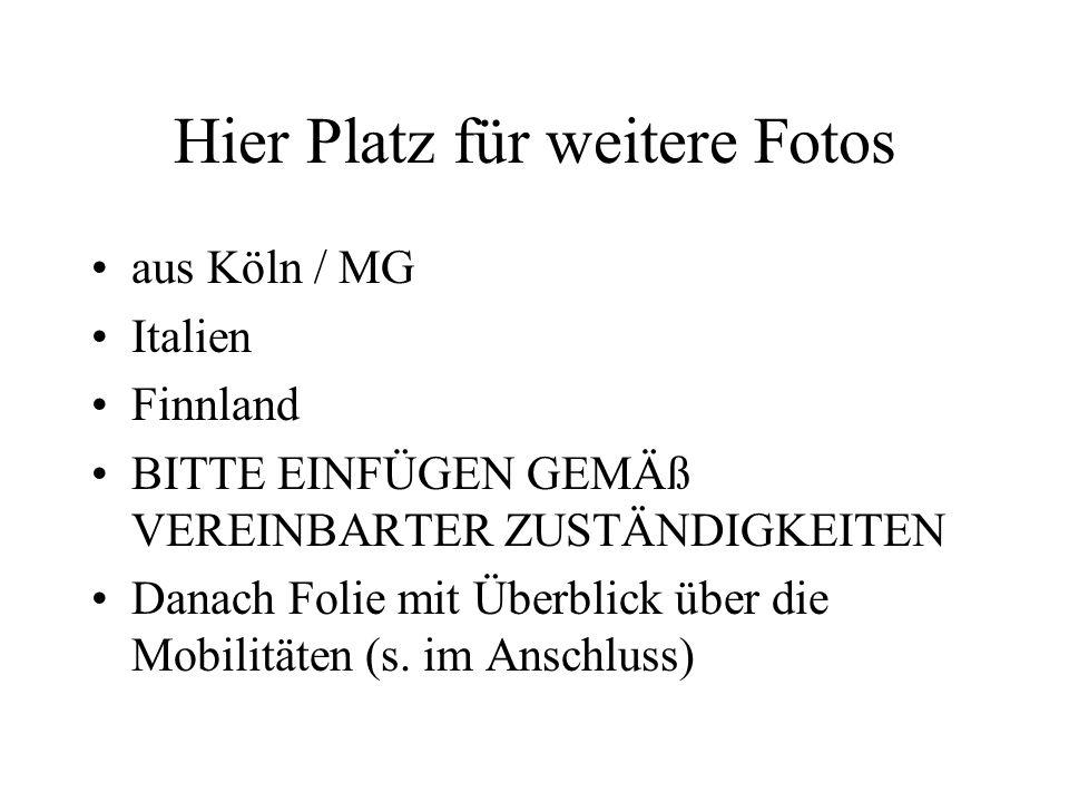 Hier Platz für weitere Fotos aus Köln / MG Italien Finnland BITTE EINFÜGEN GEMÄß VEREINBARTER ZUSTÄNDIGKEITEN Danach Folie mit Überblick über die Mobilitäten (s.