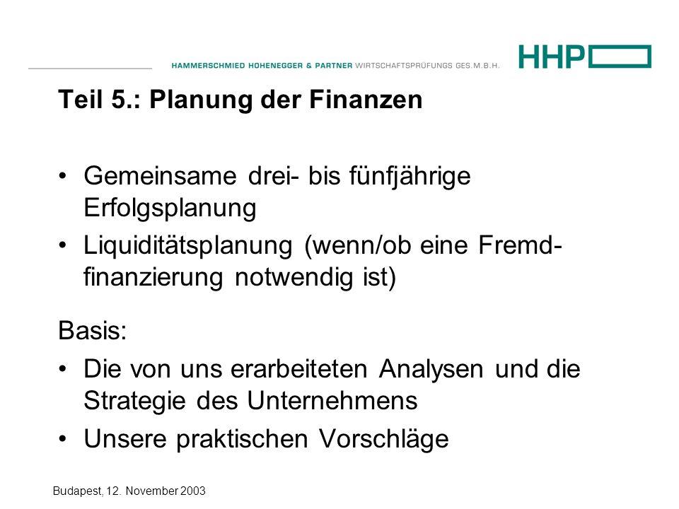 Budapest, 12. November 2003 Teil 5.: Planung der Finanzen Gemeinsame drei- bis fünfjährige Erfolgsplanung Liquiditätsplanung (wenn/ob eine Fremd- fina