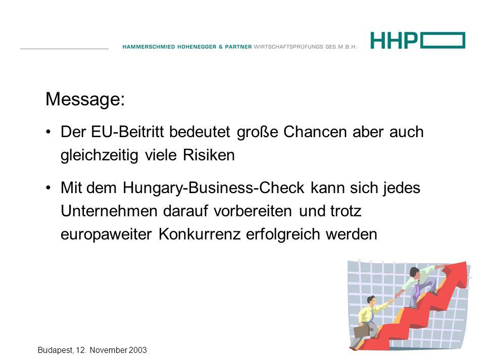Budapest, 12. November 2003 Message: Der EU-Beitritt bedeutet große Chancen aber auch gleichzeitig viele Risiken Mit dem Hungary-Business-Check kann s