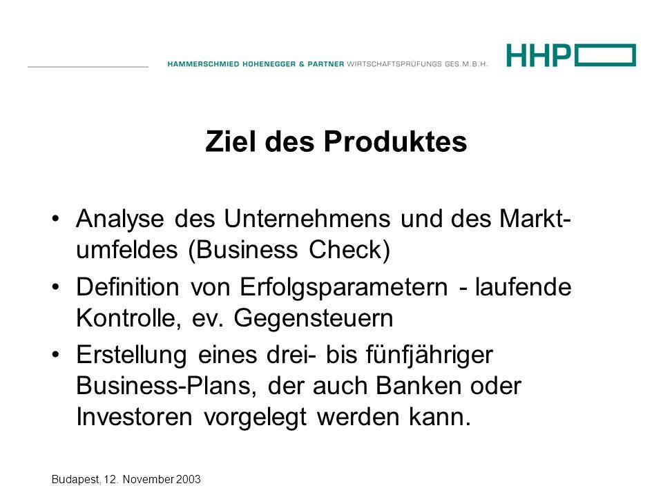 Budapest, 12. November 2003 Ziel des Produktes Analyse des Unternehmens und des Markt- umfeldes (Business Check) Definition von Erfolgsparametern - la