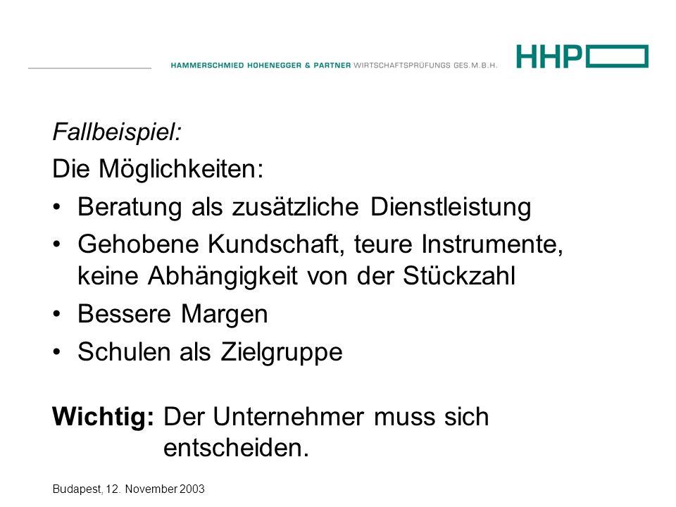Budapest, 12. November 2003 Fallbeispiel: Die Möglichkeiten: Beratung als zusätzliche Dienstleistung Gehobene Kundschaft, teure Instrumente, keine Abh
