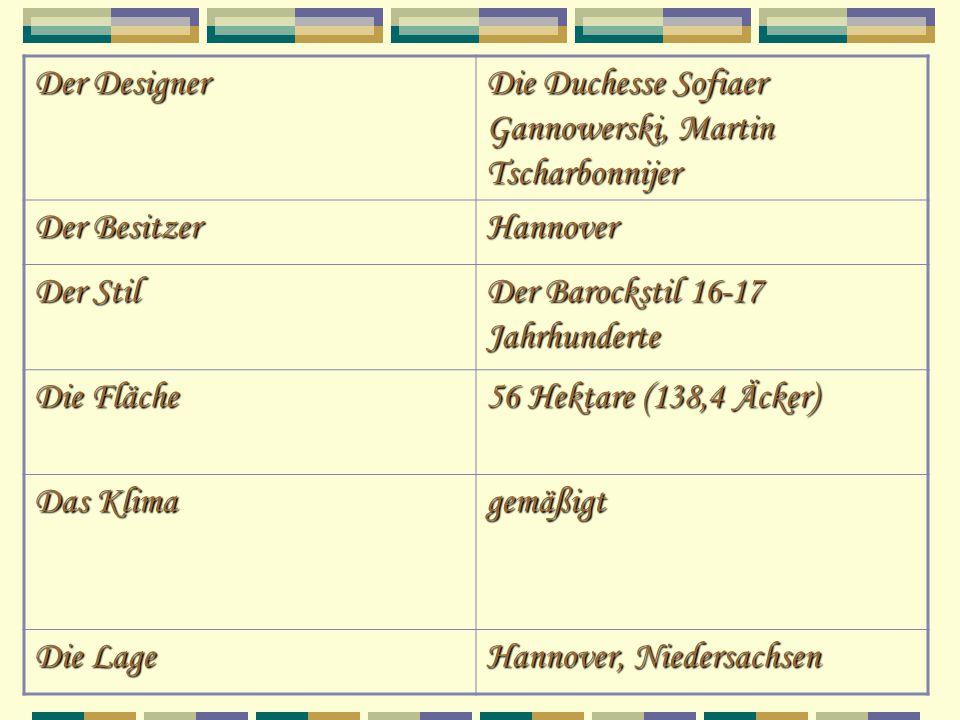 Der Designer Die Duchesse Sofiaer Gannowerski, Martin Tscharbonnijer Der Besitzer Hannover Der Stil Der Barockstil 16-17 Jahrhunderte Die Fläche 56 He