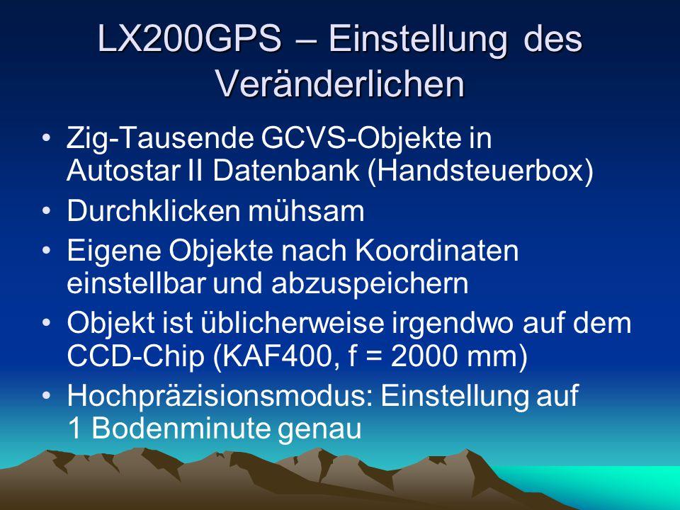 LX200GPS – Einstellung des Veränderlichen Zig-Tausende GCVS-Objekte in Autostar II Datenbank (Handsteuerbox) Durchklicken mühsam Eigene Objekte nach K