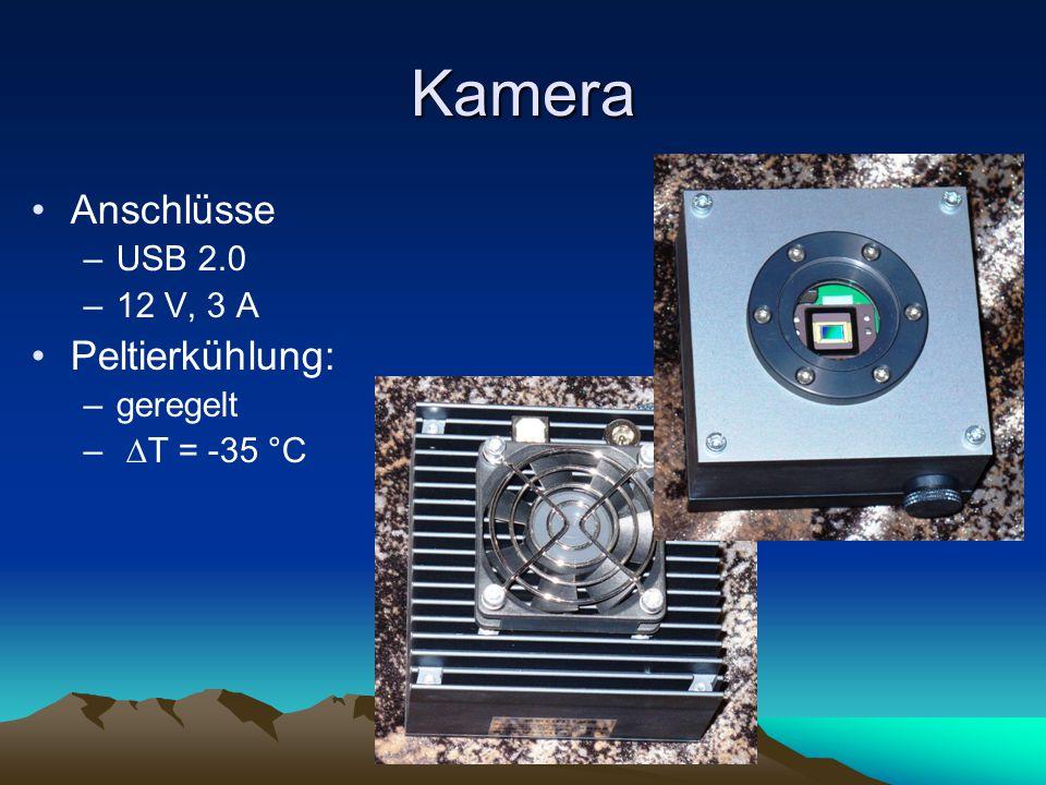 Kamera Anschlüsse –USB 2.0 –12 V, 3 A Peltierkühlung: –geregelt – T = -35 °C
