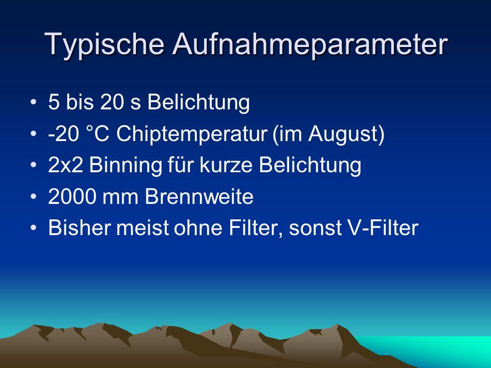 Typische Aufnahmeparameter 5 bis 20 s Belichtung -20 °C Chiptemperatur (im August) 2x2 Binning für kurze Belichtung 2000 mm Brennweite Bisher meist oh