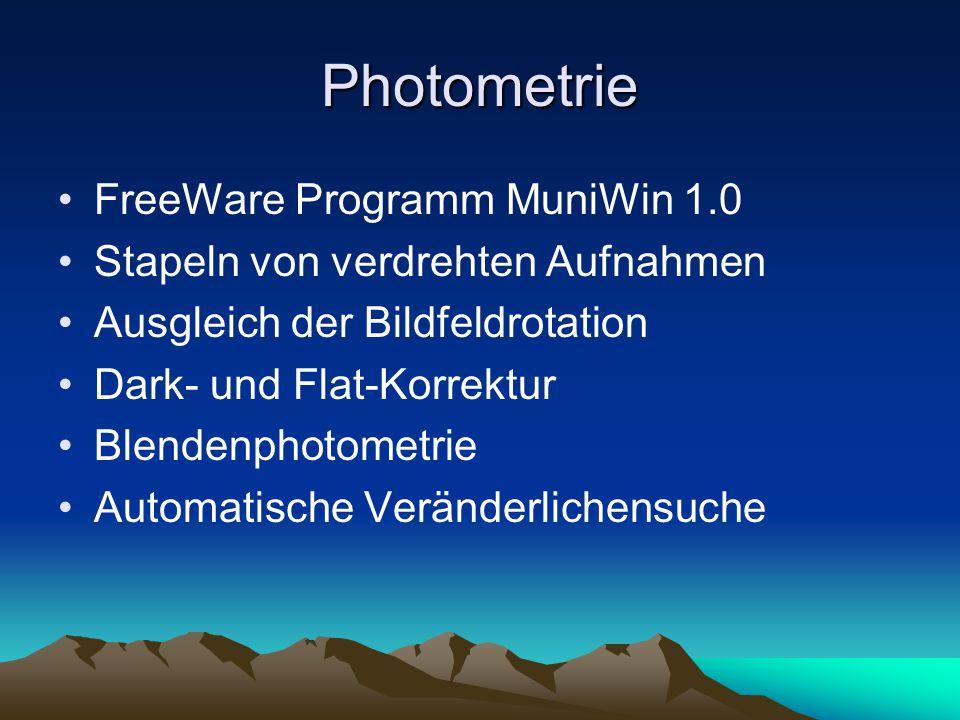 Photometrie FreeWare Programm MuniWin 1.0 Stapeln von verdrehten Aufnahmen Ausgleich der Bildfeldrotation Dark- und Flat-Korrektur Blendenphotometrie