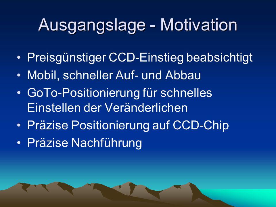 Ausgangslage - Motivation Preisgünstiger CCD-Einstieg beabsichtigt Mobil, schneller Auf- und Abbau GoTo-Positionierung für schnelles Einstellen der Ve