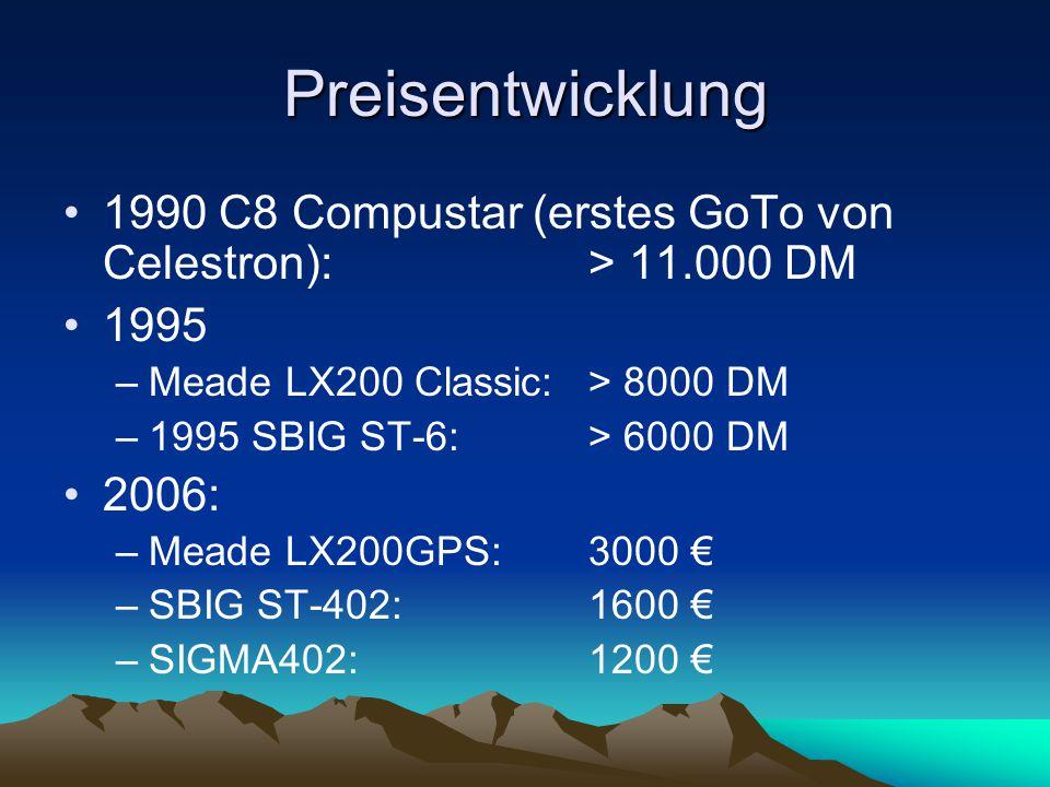 Preisentwicklung 1990 C8 Compustar (erstes GoTo von Celestron): > 11.000 DM 1995 –Meade LX200 Classic: > 8000 DM –1995 SBIG ST-6: > 6000 DM 2006: –Mea