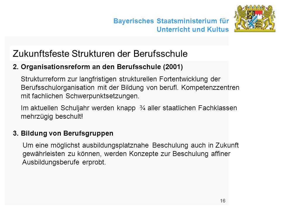 Bayerisches Staatsministerium für Unterricht und Kultus 16 Zukunftsfeste Strukturen der Berufsschule 2.