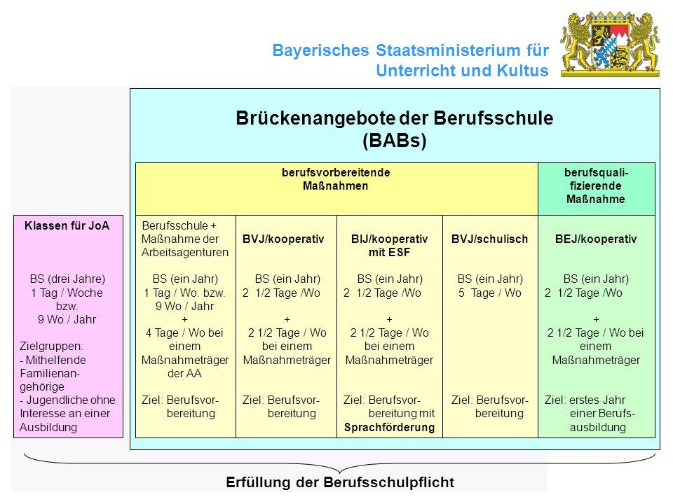 Bayerisches Staatsministerium für Unterricht und Kultus Brückenangebote der Berufsschule (BABs) berufsvorbereitende Maßnahmen berufsquali- fizierende Maßnahme Berufsschule + Maßnahme der Arbeitsagenturen BS (ein Jahr) 1 Tag / Wo.